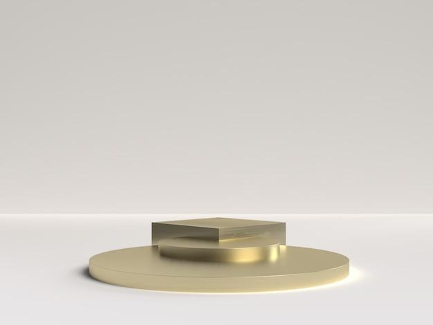 Weiß-gold-3d-rendering des podiums der abstrakten szenengeometrieform für die produktanzeige Premium PSD