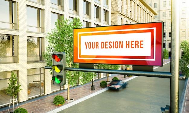 Weiße horizontale plakatwand auf dem straßen-3d-rendering Premium PSD
