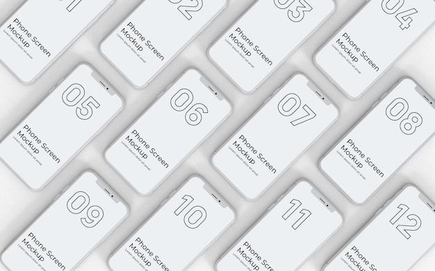 Weiße telefonbildschirme mockup-draufsicht Premium PSD