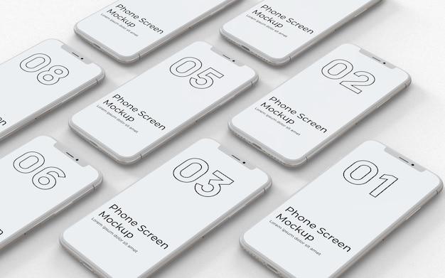 Weiße telefonbildschirme modell linke ansicht Premium PSD