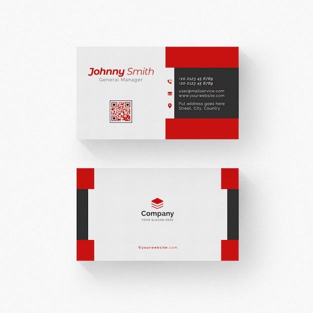 Weiße und schwarze visitenkarte mit roten details Premium PSD