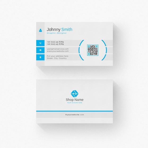 Weiße visitenkarte mit blauen details Premium PSD