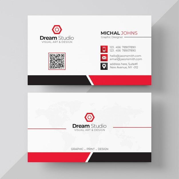 Weiße visitenkarte mit roten details Kostenlosen PSD