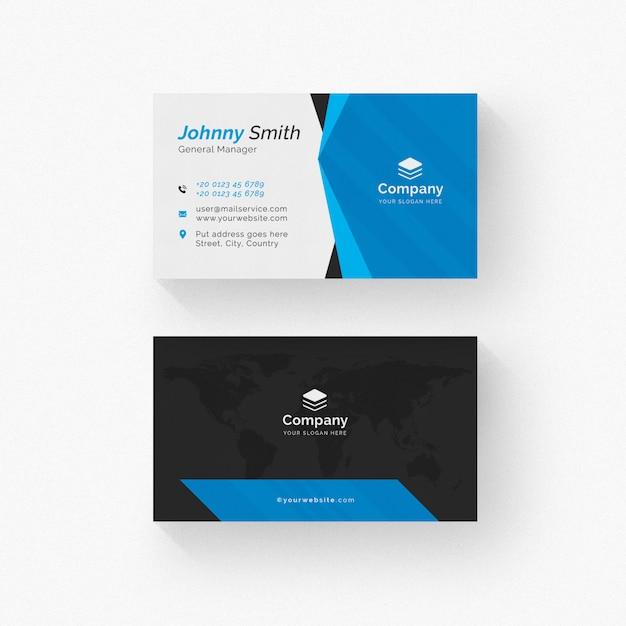 Weiße visitenkarte mit schwarzen und blauen details Premium PSD