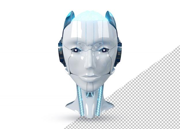 Weißer und blauer weiblicher cyborgroboterkopf lokalisiert auf weißer wiedergabe 3d Premium PSD