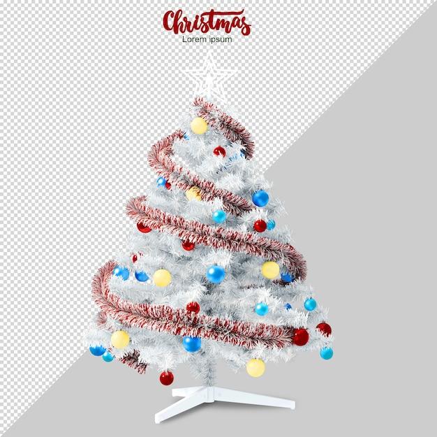 Weißer weihnachtsbaum in 3d lokalisiert gerendert Premium PSD