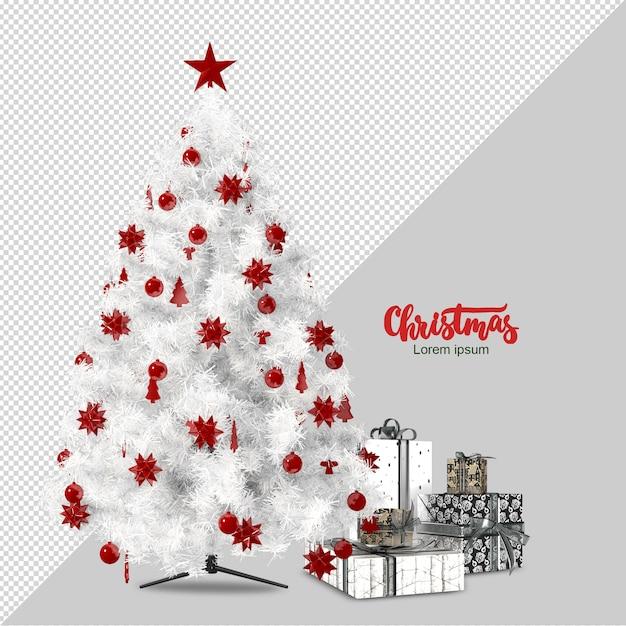 Weißer weihnachtsbaum und geschenke 3d lokalisiert gerendert Premium PSD