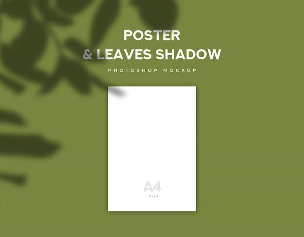 Weißes plakatpapier oder größe des flugblatts a4 und blattschatten auf olivgrünem hintergrund Premium PSD