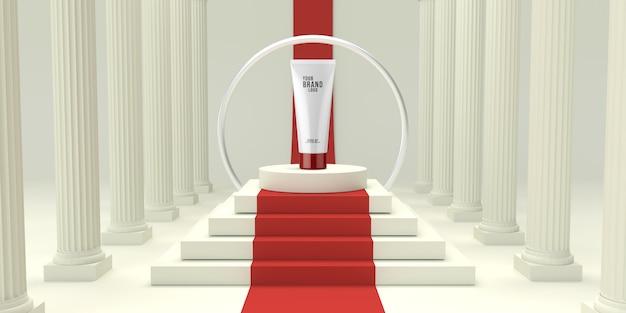 Weißes studio der modernen kosmetischen schablone mit podium 3d übertragen Premium PSD