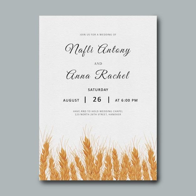 Weizenhochzeitseinladungsschablone mit aquarell Premium PSD