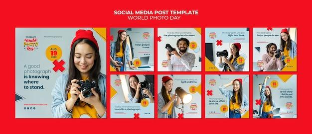 Weltfoto tag social media post vorlage Kostenlosen PSD