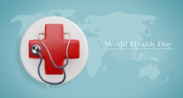 Weltgesundheitstag, modell für gesundheitswesen und medizinisches konzept Premium PSD