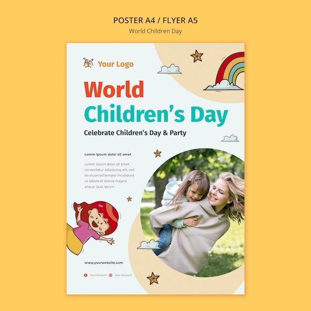Weltkinder-tagesplakatschablone Kostenlosen PSD