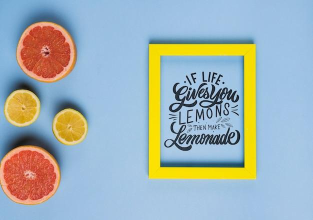 Wenn das leben ihnen zitronen gibt, dann machen sie limonade, motivbeschriftungszitat Kostenlosen PSD
