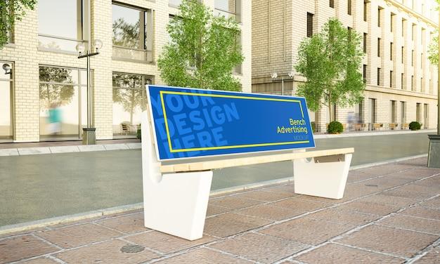 Werbebank auf dem straßenmodell 3d-rendering Premium PSD