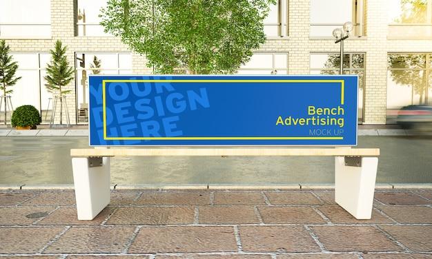 Werbebank auf dem straßenmodell Premium PSD