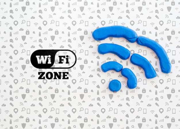 Wi-fi-zone mit blauen signalwellen Kostenlosen PSD