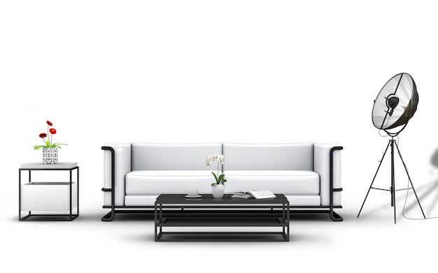 Wiedergabe 3d von studiomöbeln und -dekorationen. Premium PSD