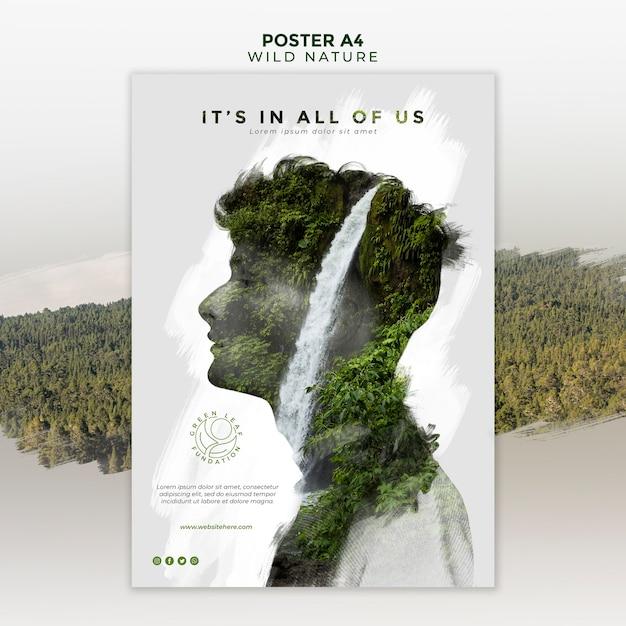 Wilde natur mit abstraktem mann- und wasserfallplakat Premium PSD