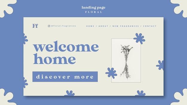 Willkommen zu hause blumen landing page Kostenlosen PSD