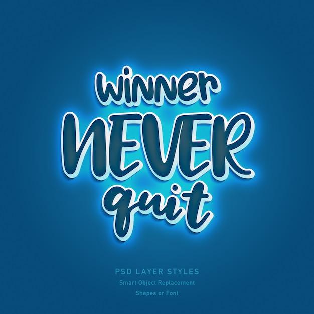 Winner never quit quote mit 3d-textstil-effekt-psd für formen oder schriftarten Premium PSD
