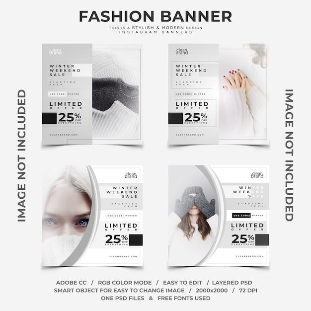 Winter-rabatte instagram banner Premium PSD