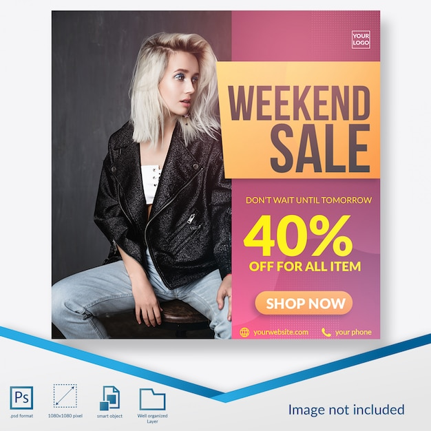 Wochenendangebot für fashion square banner oder instagram post template Premium PSD