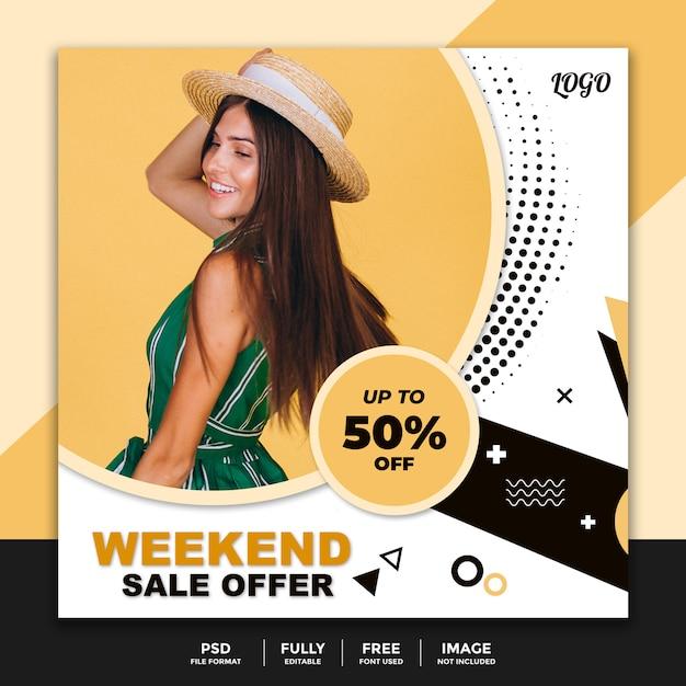 Wochenendangebot social media banner vorlage Premium PSD