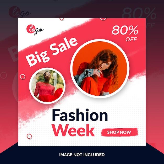 Wochenendspezialverkaufs-social media-netzfahne Premium PSD