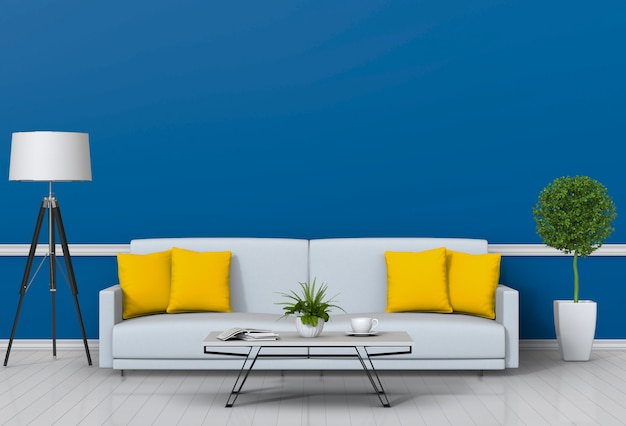 Wohnzimmer interieur im modernen stil mit sofa und dekorationen. Premium PSD
