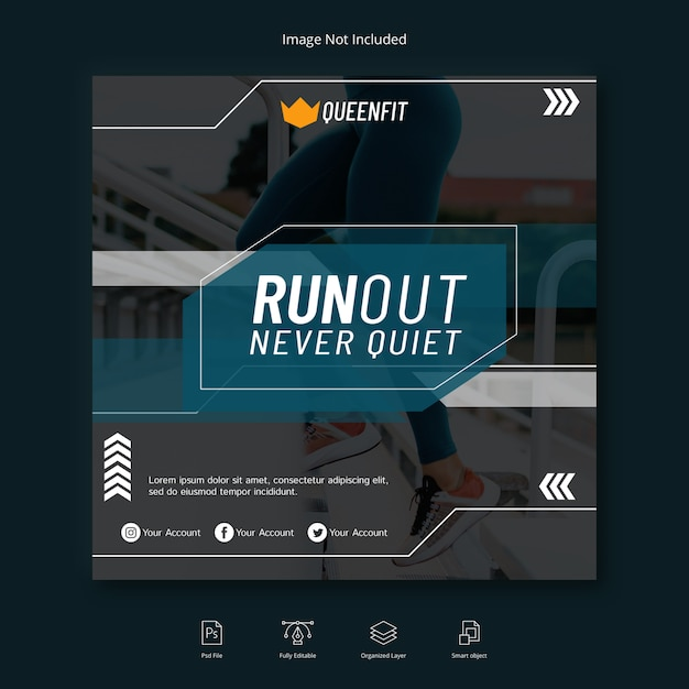 Workout sport social media banner instagram post oder quadratische flyer vorlage Premium PSD