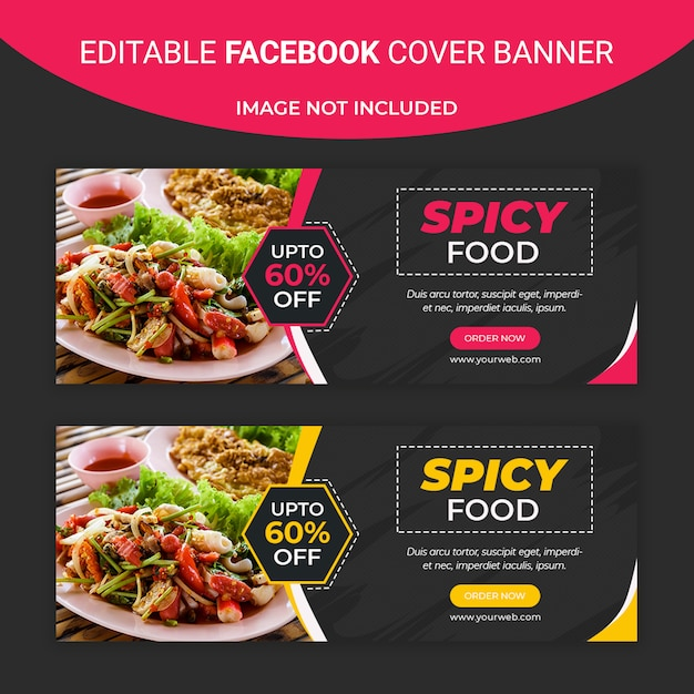 Würziges essen facebook social media banner vorlage Premium PSD