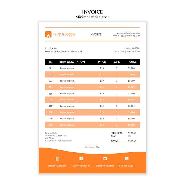 Zahlungsrechnung vorlage minimalistisches design Kostenlosen PSD