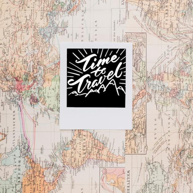 Zeit, über weinleseweltkarte zu reisen Kostenlosen PSD