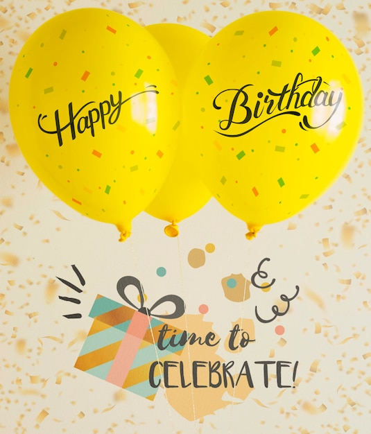 Zeit zum feiern mit luftballons und konfetti Kostenlosen PSD