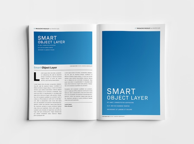 Zeitschrift auf weißem oberflächenmodell öffnen Premium PSD