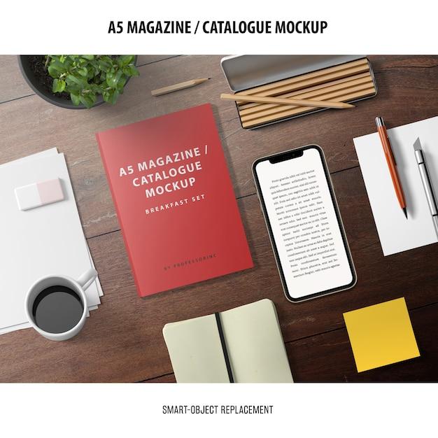 Zeitschriftenkatalog mockup Kostenlosen PSD