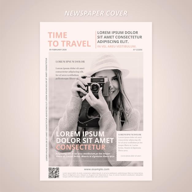 Zeitungscover mit reisefotograf Kostenlosen PSD