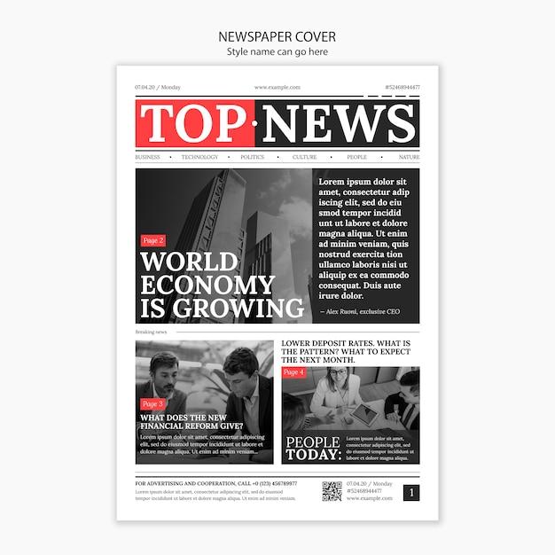 Zeitungscover mit wichtigen kopftiteln Premium PSD