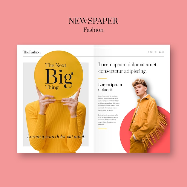Zeitungsmodeblätter mit dem modell, das gelbe kleidung trägt Kostenlosen PSD