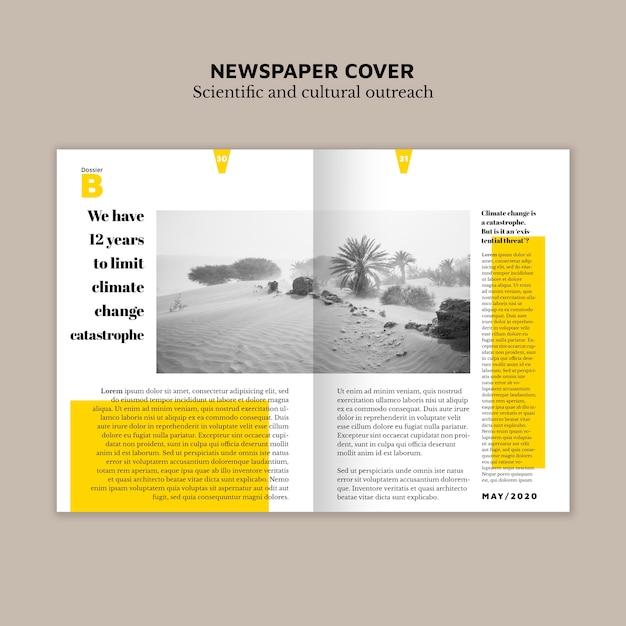 Zeitungsumschlag mit text und bild Kostenlosen PSD