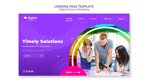 Zielseite für digitales geschäftsmarketing Premium PSD