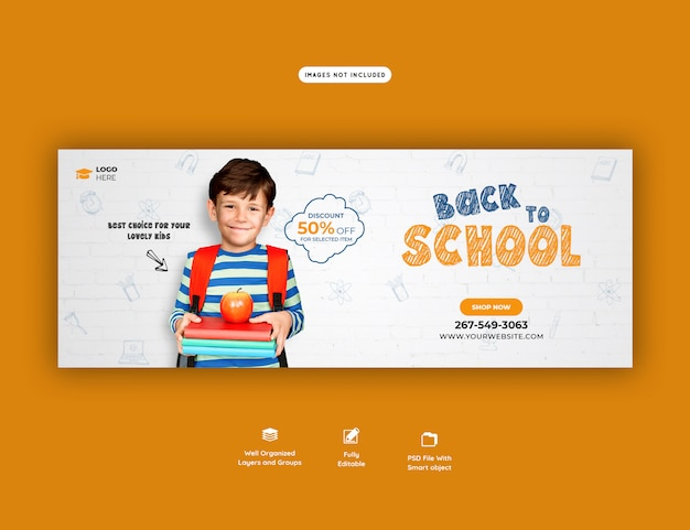 Zurück in die schule mit rabattangebot facebook cover vorlage Premium PSD
