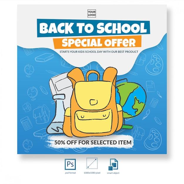 Zurück zu schule mit hand gezeichneter illustrationsrabattangebot-social media-beitrags- oder -fahnenschablone Premium PSD