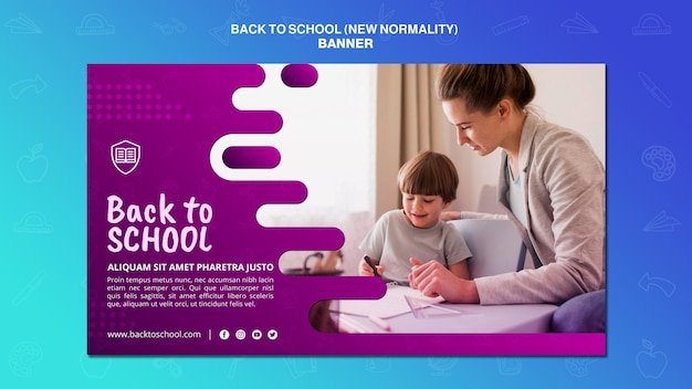 Zurück zur schule banner vorlage Premium PSD