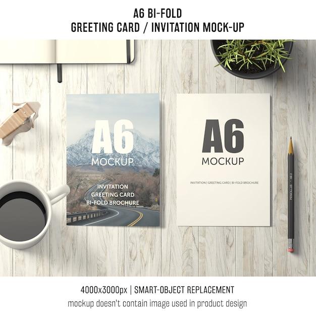 Zwei a6 zweifache grußkartenmodelle Kostenlosen PSD