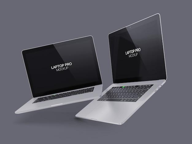 Zwei schwimmende laptop modell laptop Premium PSD