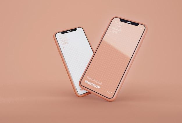 Zwei smartphones mockups Premium PSD