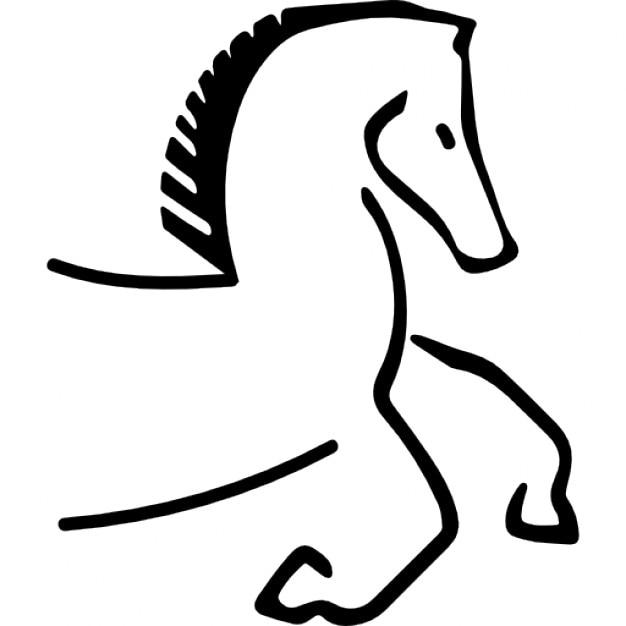 Cavallo cartone animato contorno verso destra con i piedi