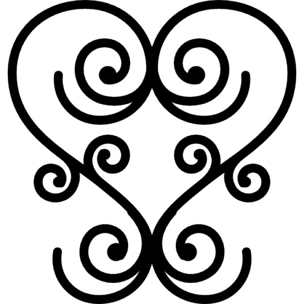Amato Disegno floreale come un cuore di spirali simmetriche di linee  ZO78